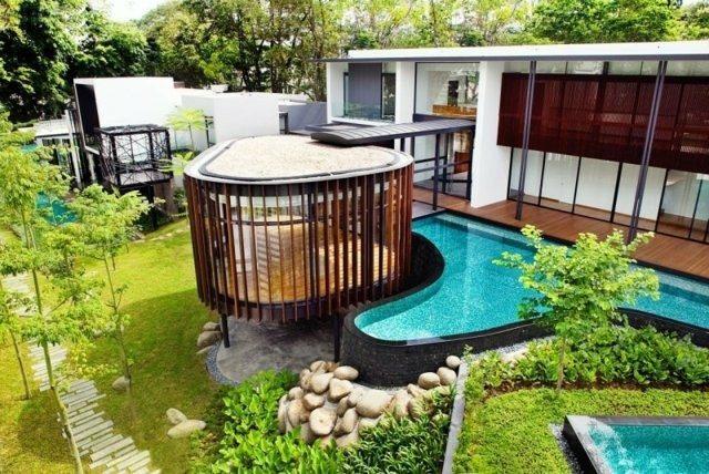 diseño estilo moderno sala madera piscina