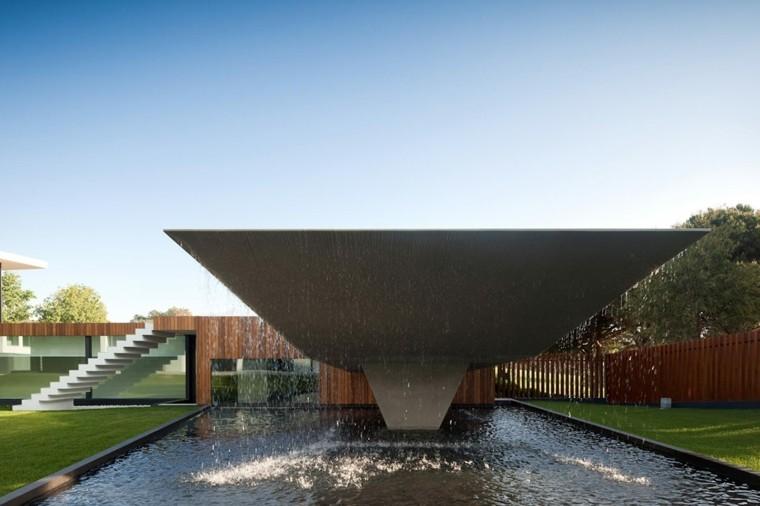 diseño moderno terraza techo cascada