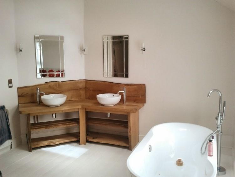 diseño mueble lavabo madera esquina