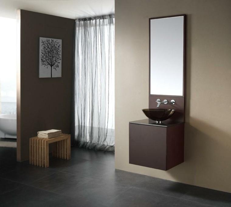 diseño muebles baño color marrones