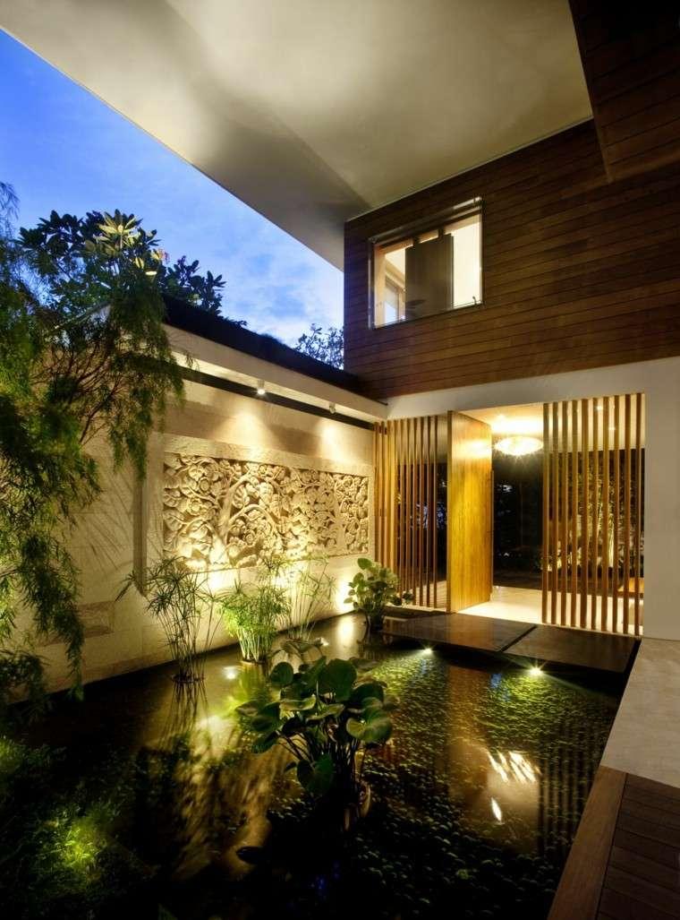 diseño paisaje patio cubierto estanque