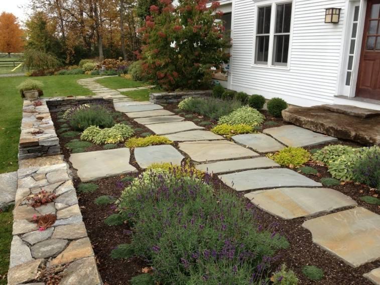 diseño moderno patio delantero caminos