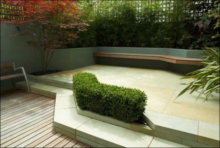 diseño patio moderno nivelado banco
