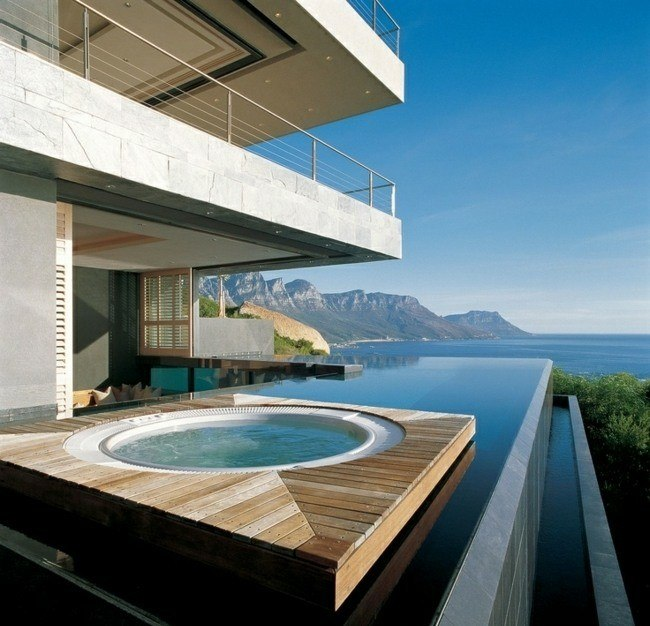 diseño piscina redonda jakuzzi madera