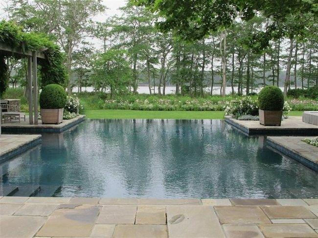 diseño piscina setos redondos plantas