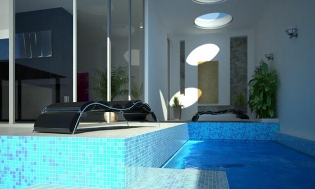 diseño piscinas mosaico color celeste