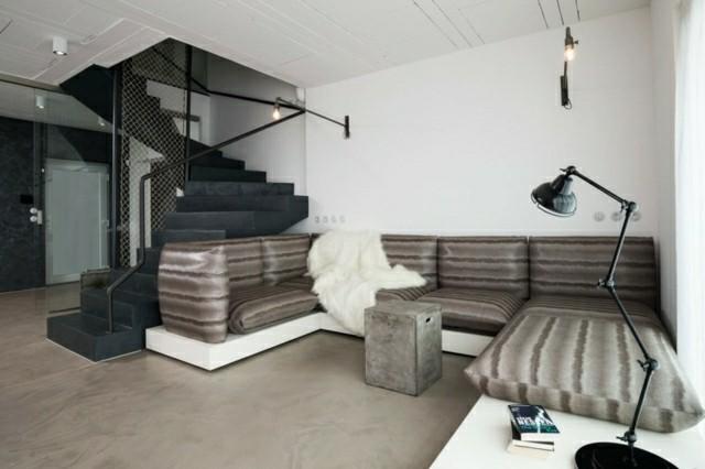 diseo salon moderno escaleras negras
