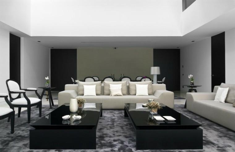 diseño salon moderno mesas negras