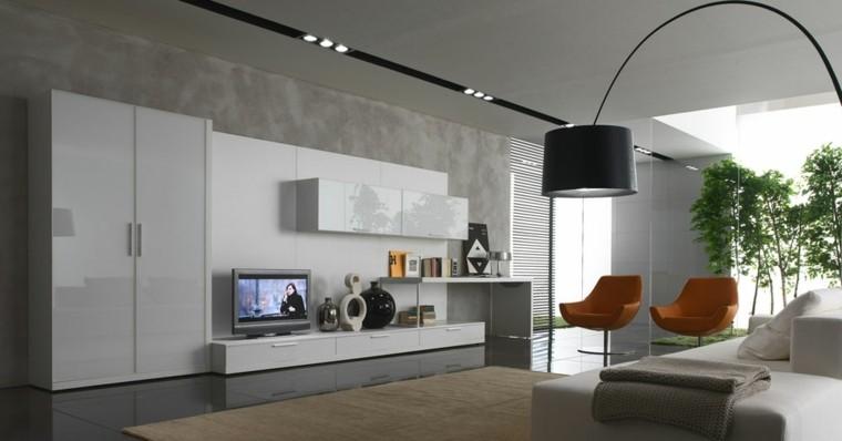 diseño salon gris sillas naranja