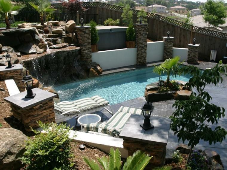 diseño terraza moderna fuentes cascada