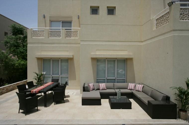 diseño terraza muebles rattan negro