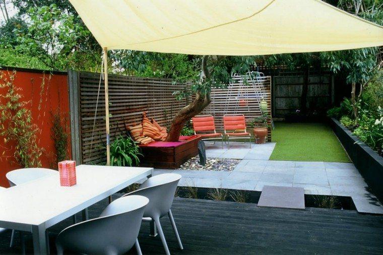 diseño terraza toldo tela arbol