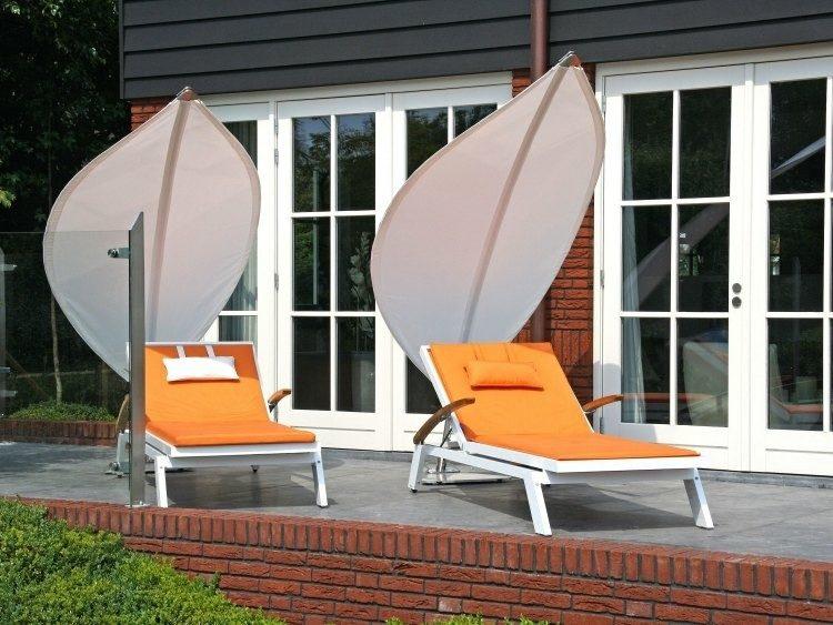 diseño tumbonas toldos parasoles hojas