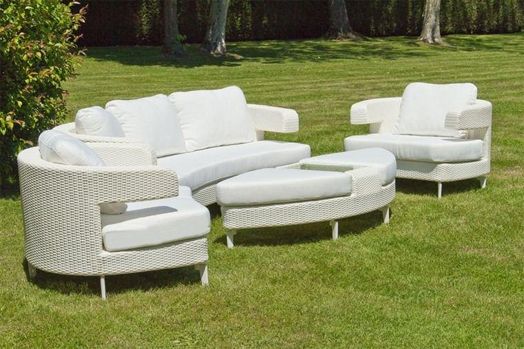 diseño muebles blancos rattan jardin