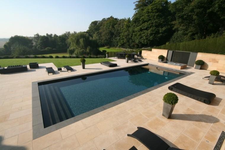 diseños jardines modernos piscina rectangular