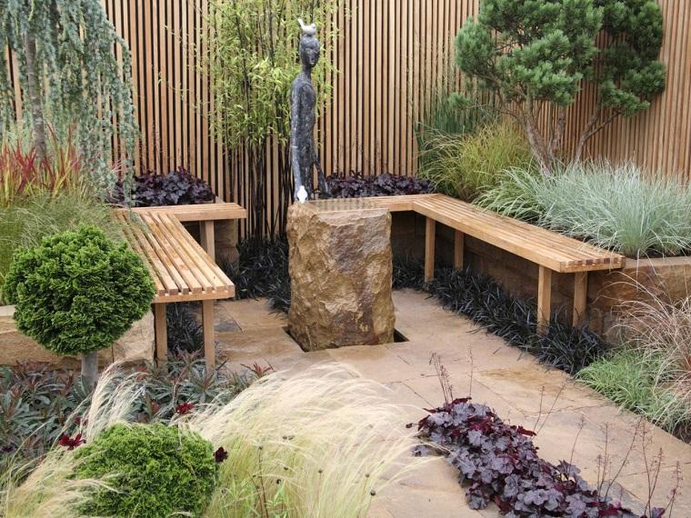 diseño de jardines pequeños bancos madera ideas
