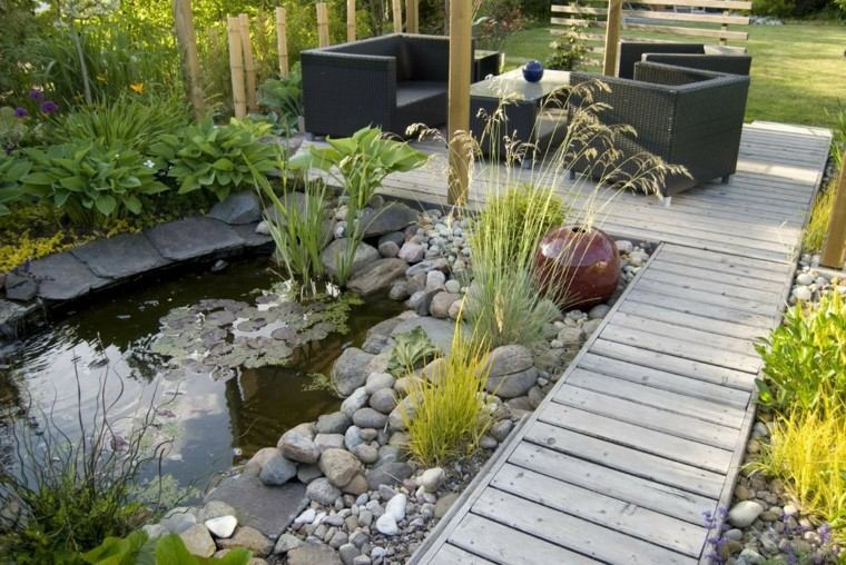 diseño de jardines pequeños estanque muebles ideas