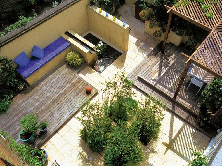diseño de jardines pequeños suelo madera losas ideas