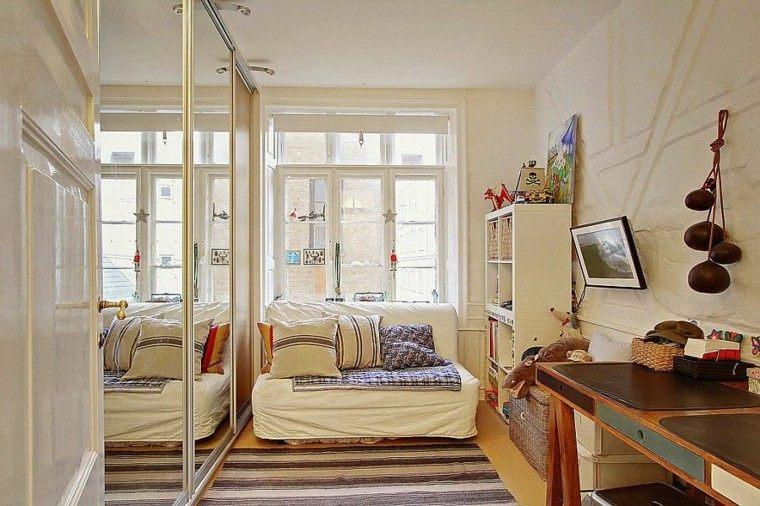 diseno escandinavo habitacion pequena espejos ideas