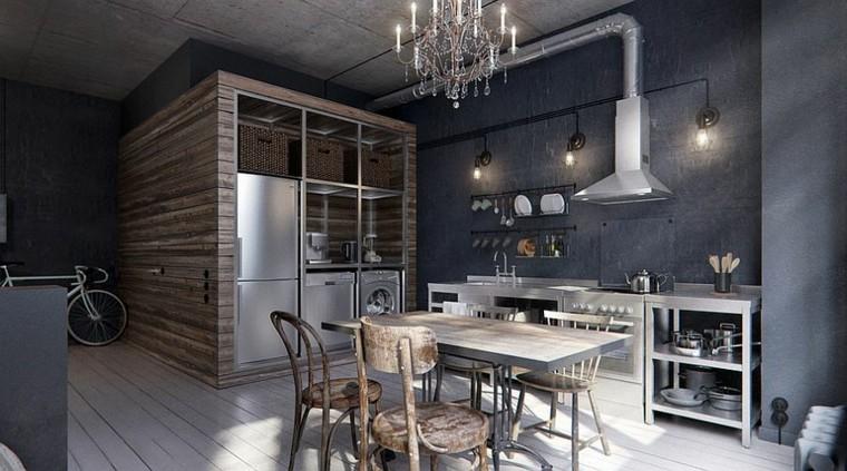 diseño industrial cocinas colores oscuros ideas