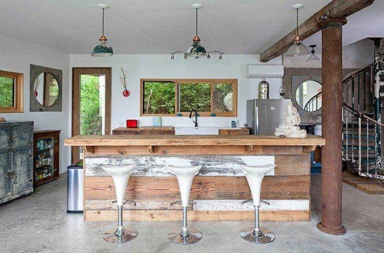 diseño industrial cocinas isla madera ideas