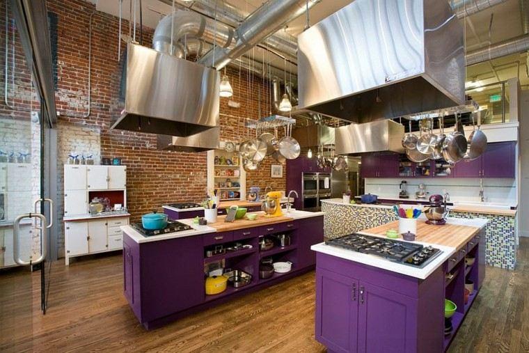 diseño industrial cocinas islas purpura ideas