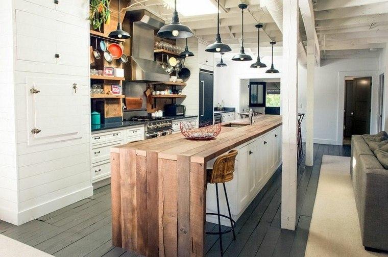 diseño industrial cocinas madera blanca ideas