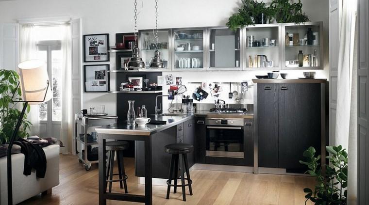 diseño industrial cocinas muebles negro ideas