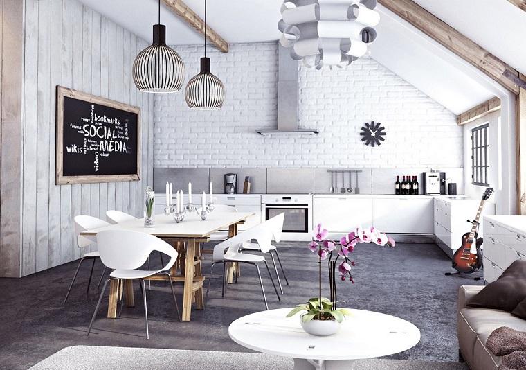 diseño industrial cocinas abierta blanco ideas