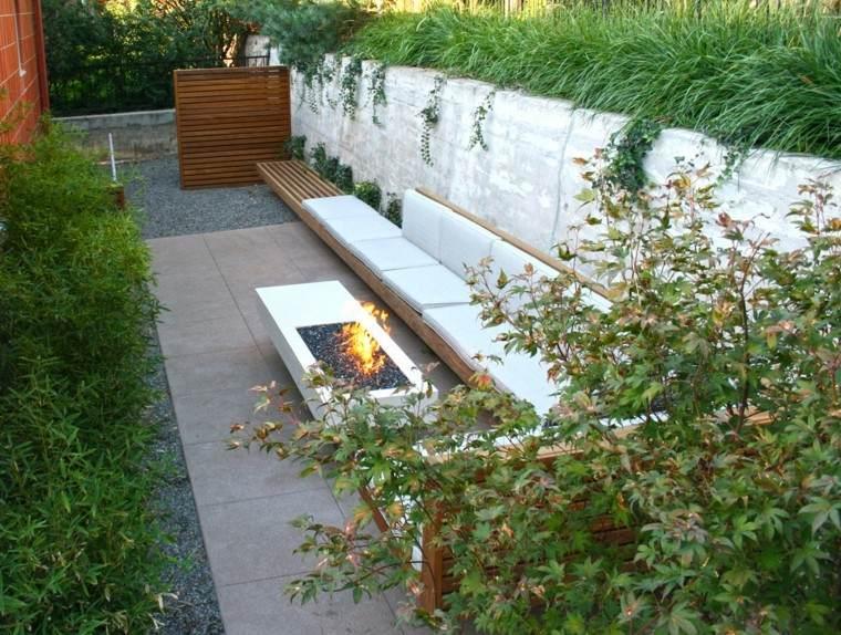 diseno moderno jardin pequeno lugar fuego ideas