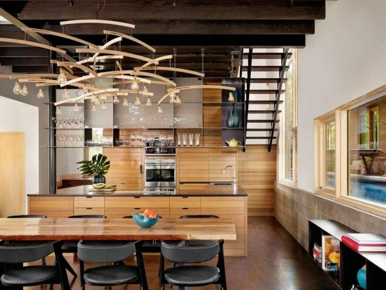 distrubucion casa madera frytas ventanas lamparas