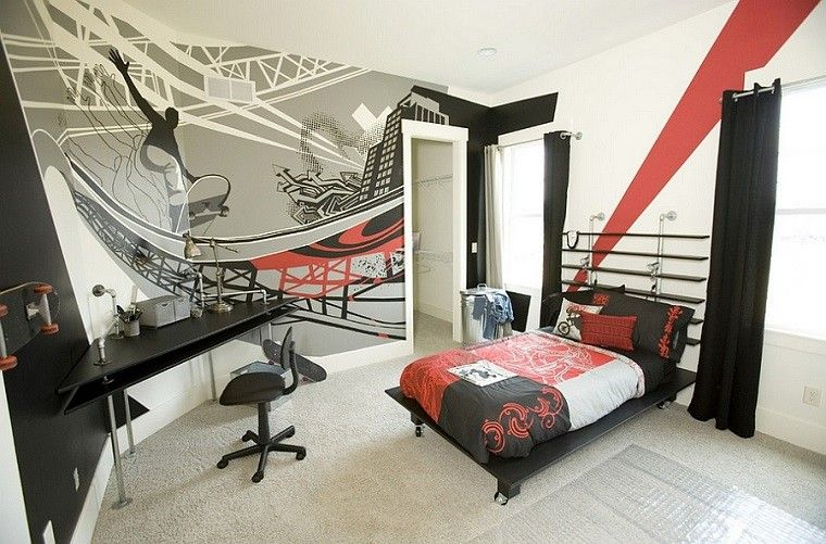 graffiti dormitorio adolescente colores negros muebles ideas