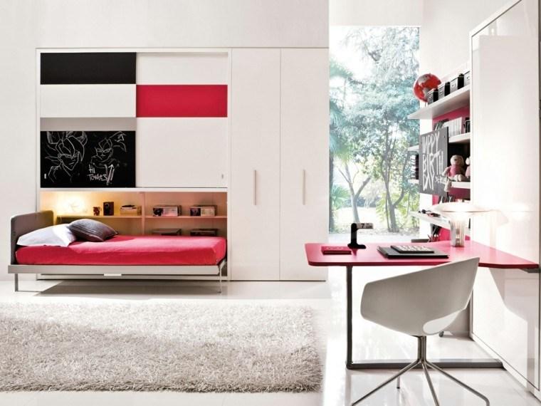 dormitorio adolescente colores rojos pizarra ideas