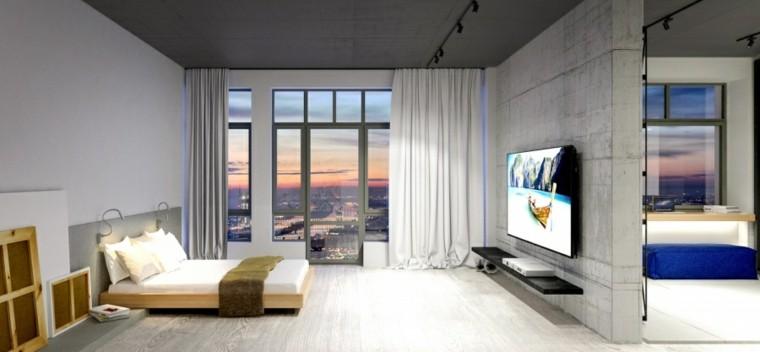 dormitorio amplio cortina mueble ventana