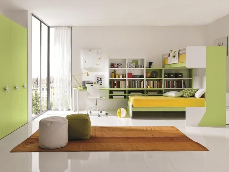 dormitorio amplio estanterias verde moderno ideas