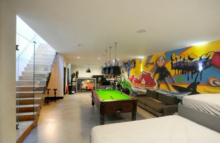 dormitorio amplio mesa billard pared original ideas