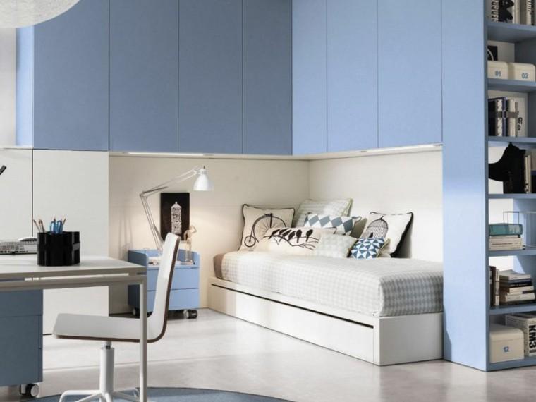 dormitorio armarios azules adolescentes escritorio ideas
