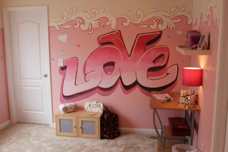 dormitorio chica adolescentes pared rosa ideas