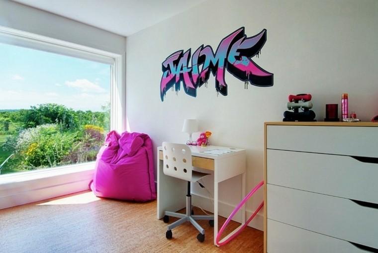 dormitorio chica escritorio silla dibujo pared ideas