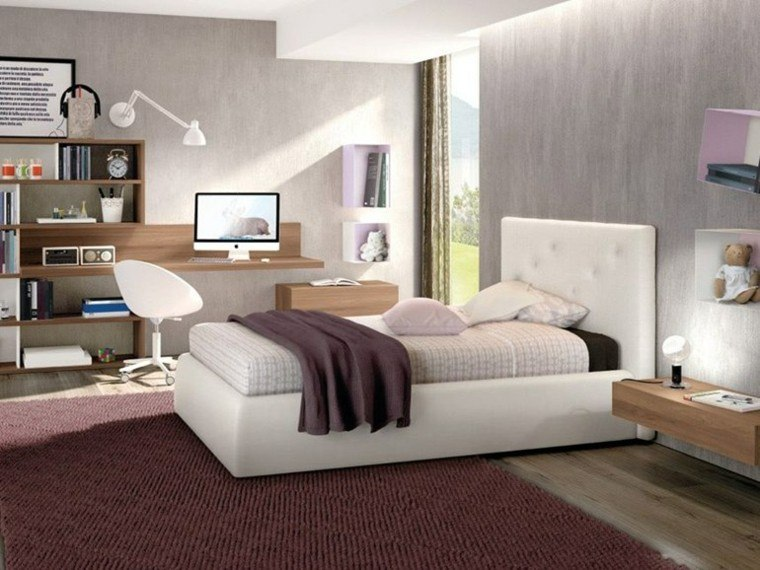 dormitorio chica moderno alfombra escritorio madera ideas
