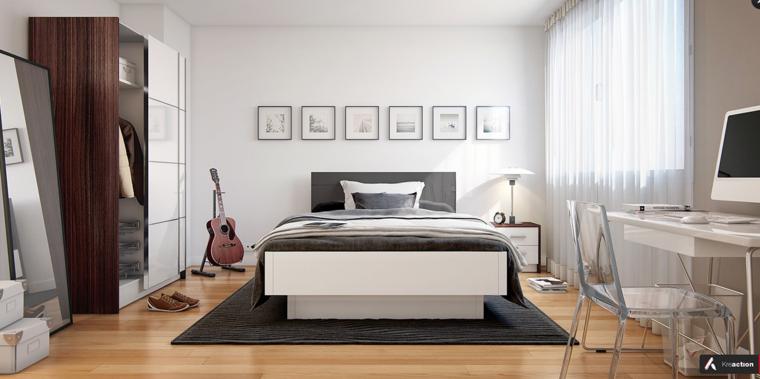 dormitorio sueños colores neutros guitarra