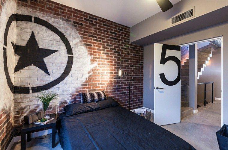 dormitorio estilo industrial pared ladrillo pintado ideas