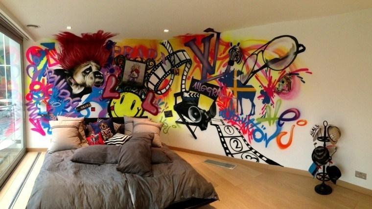 dormitorio moderno amplio pared pintada ideas