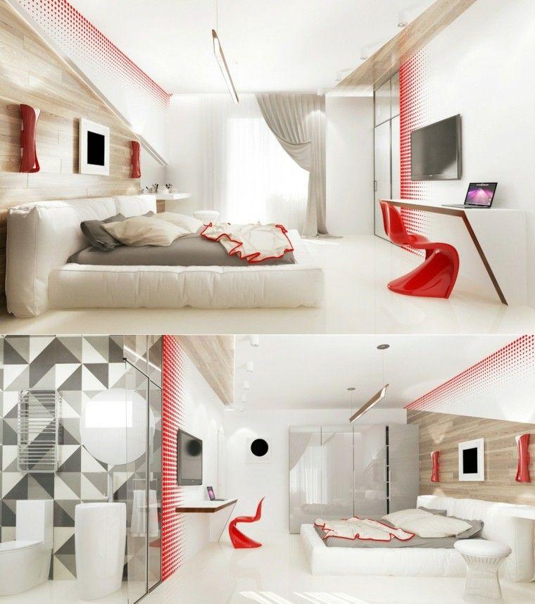 dormitorio sueños moderno blanco rojo