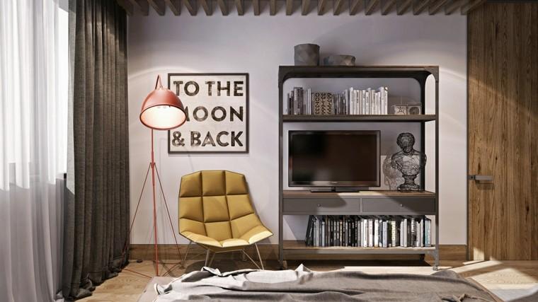 dormitorio estilo moderno sillon amarillo