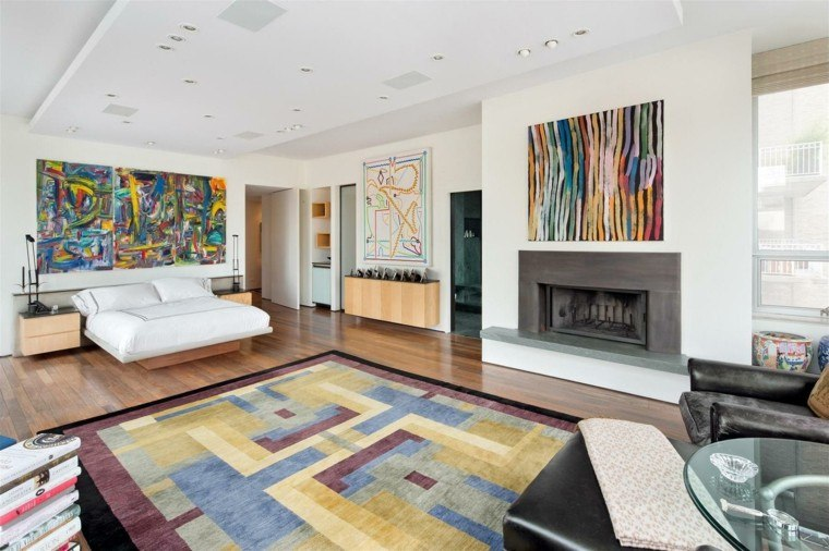 dormitorio pared cuadros arte moderno colores ideas