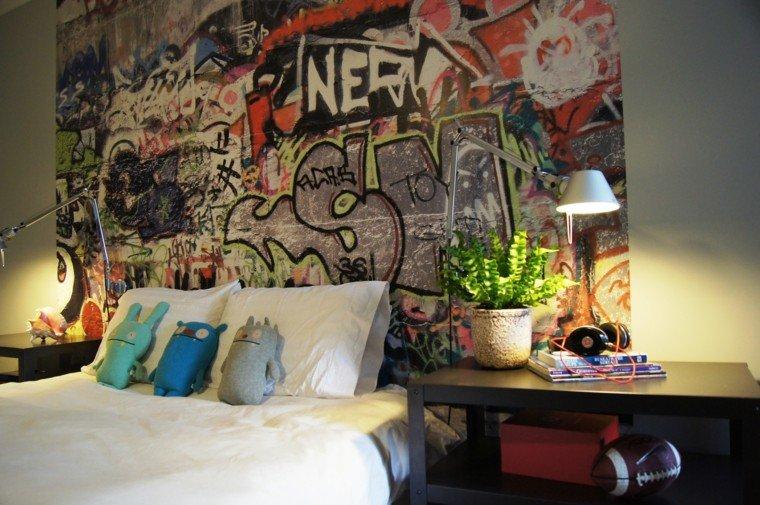dormitorio pared grafiiti cama grande ideas