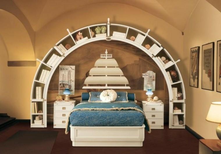 dormitorio ropa cama azul barco pared ideas