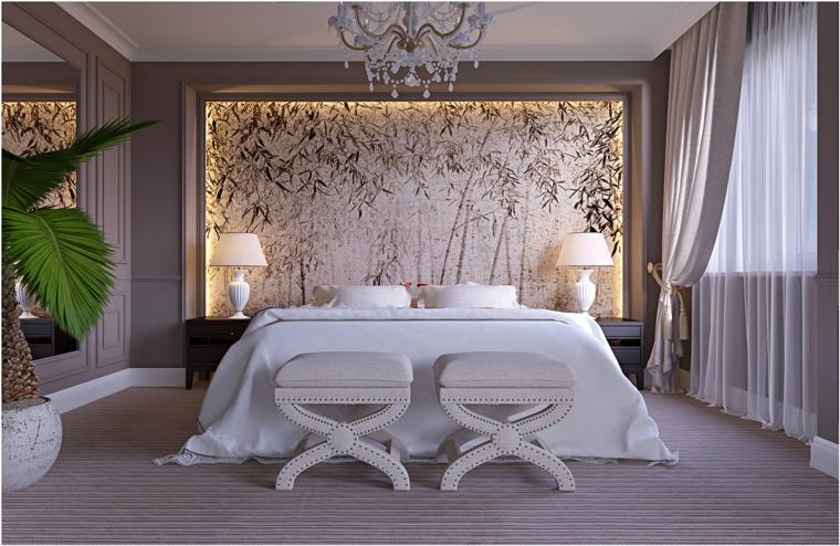 dormitorio estilo romantico cabecero bambu