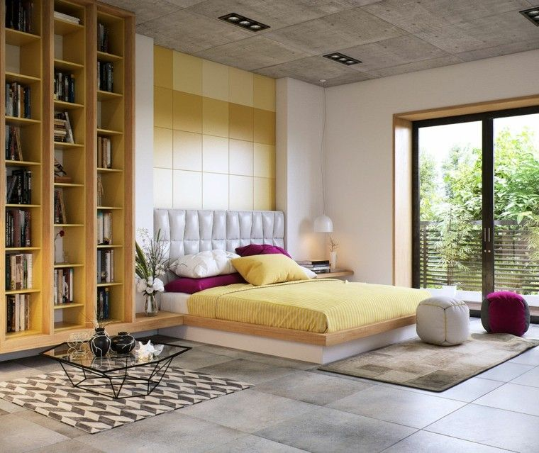 dormitorios de matrimonio color amarillo